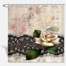 paris black lace white rose Shower Curtain