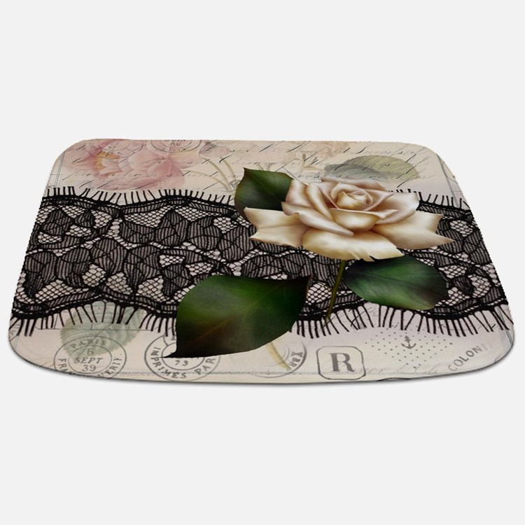 paris black lace white rose Bathmat