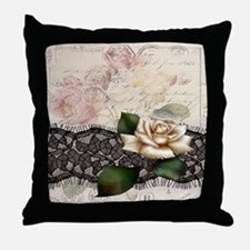 paris black lace white rose Throw Pillow