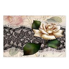 paris black lace white ro Postcards (Package of 8)