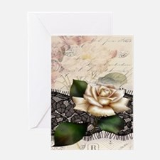 paris black lace white rose Greeting Cards