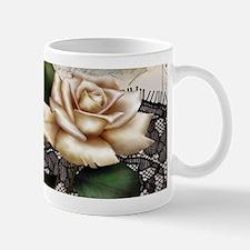 paris black lace white rose Mugs