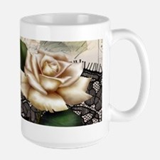 paris black lace white rose Mugs