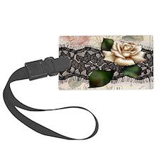 paris black lace white rose Luggage Tag