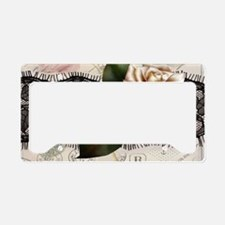 paris black lace white rose License Plate Holder