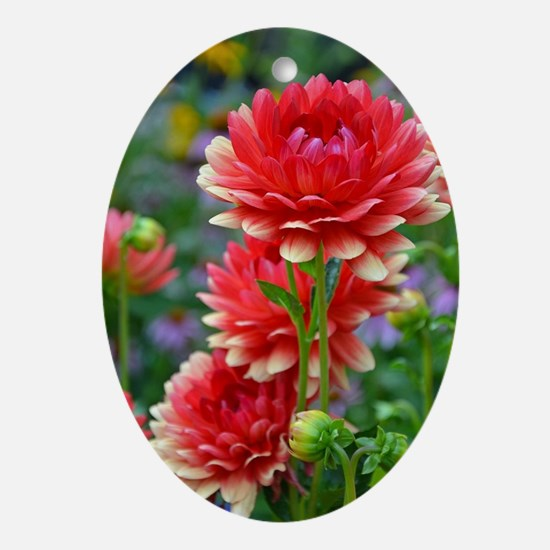 Cute Red flower Oval Ornament