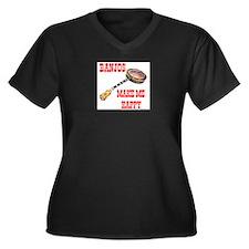 HAPPY BANJO Women's Plus Size V-Neck Dark T-Shirt