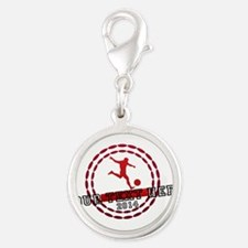 Personalized Sport Tag Silver Round Charm