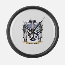 Johnson- Coat of Arms - Family Cr Large Wall Clock