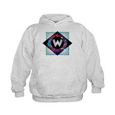 W - Letter W Monogram - Black Diamond  Hoodie