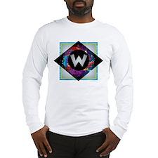 W - Letter W Monogram - Black Long Sleeve T-Shirt