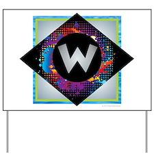 W - Letter W Monogram - Black Diamond W Yard Sign