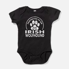 Protected By An Irish Wolfhound Baby Bodysuit