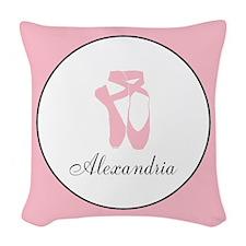 Team Pointe Pink Monogram Woven Throw Pillow