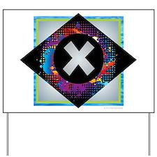 X - Letter X Monogram - Black Diamond X Yard Sign