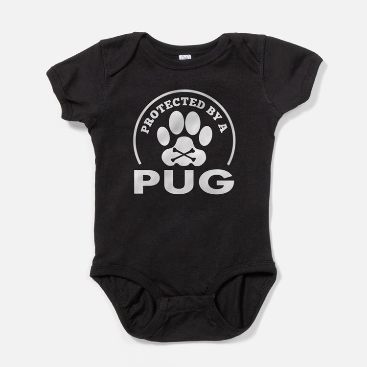 Protected By A Pug Baby Bodysuit