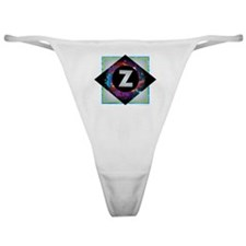 Z - Letter Z Monogram - Black Diamon Classic Thong