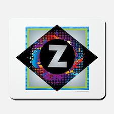 Z - Letter Z Monogram - Black Diamond Z Mousepad