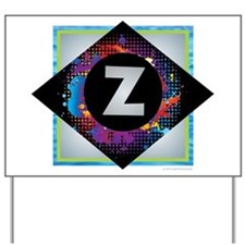 Z - Letter Z Monogram - Black Diamond Z Yard Sign
