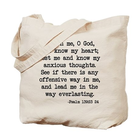 Psalm 139:23-24 Tote Bag