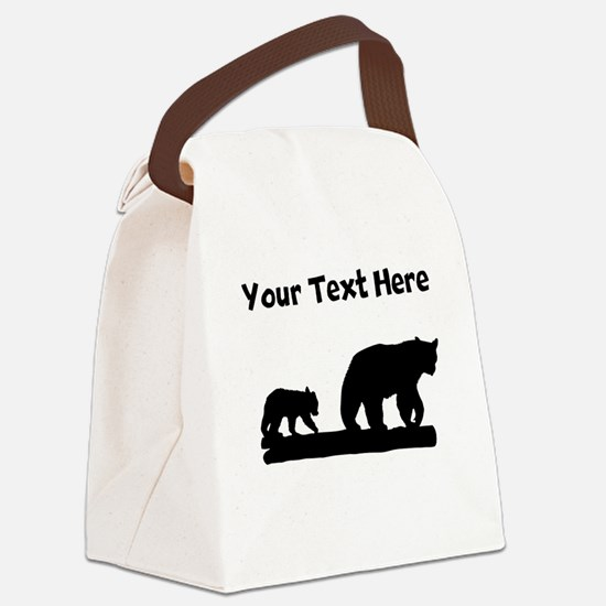 Bear And Cub Silhouette Canvas Lunch Bag