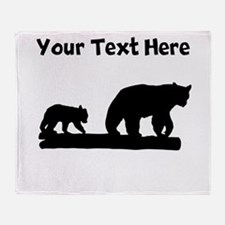 Bear And Cub Silhouette Throw Blanket
