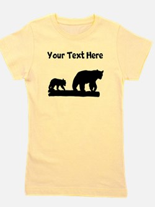 Bear And Cub Silhouette Girl's Tee