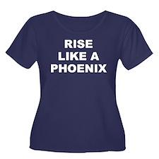 Rlap Women's Scoop Neck Dark Plus Size T-Shirt