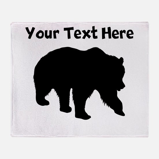 Grizzly Bear Silhouette Throw Blanket
