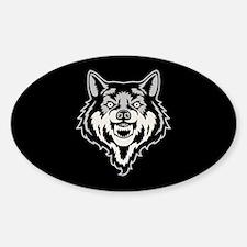 Snarling Wolf Sticker (Oval)