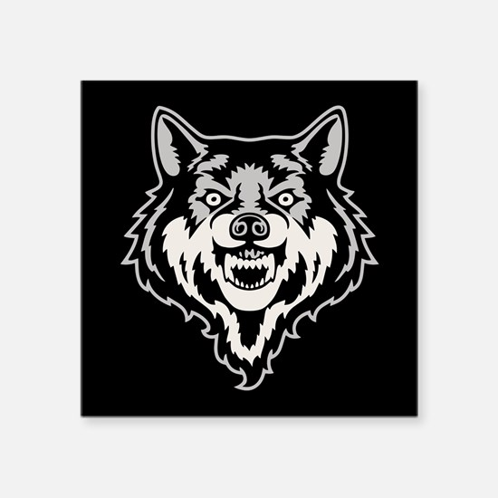 """Snarling Wolf Square Sticker 3"""" x 3"""""""