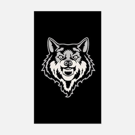 Snarling Wolf Sticker (Rectangle)