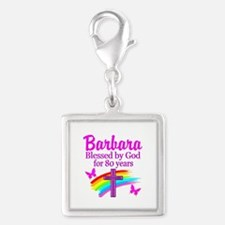 LOVELY 80TH Silver Square Charm