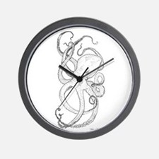 Inky Octopus Black and White Wall Clock
