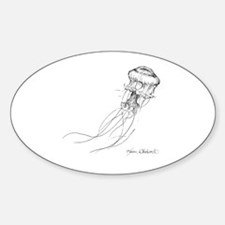 Jellyfish Pen And Ink Drawing Sticker (Oval)