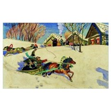Kustodiev - Shrovetide, 1920 painting Canvas Art