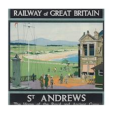 St. Andrews Vintage Golf Poster Tile Coaster