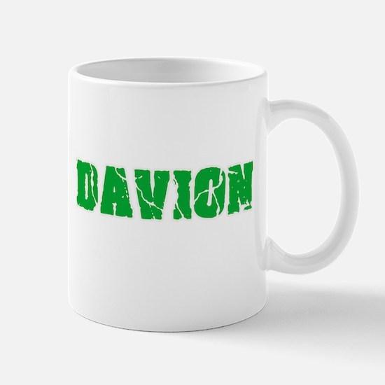 Davion Name Weathered Green Design Mugs
