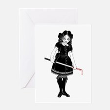 Scary Girl With Sword Greeting Cards