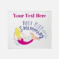 Just Keep Swimming Mermaid Throw Blanket