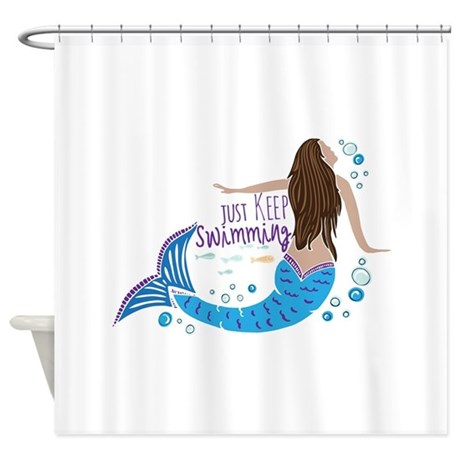 Just keep swimming mermaid shower curtain by cutenauticalgifts Swimming pool shower curtain