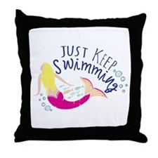 Just Keep Swimming Mermaid Throw Pillow
