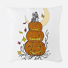 Halloween and Love Woven Throw Pillow