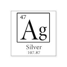 """Ag Silver Square Sticker 3"""" X 3"""""""