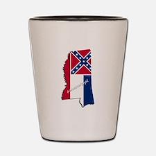 Mississippi State and Flag Shot Glass
