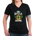 Yermo Family Crest Women's V-Neck Dark T-Shirt
