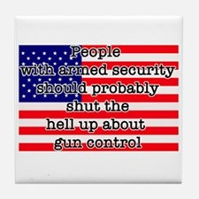 Armed security Tile Coaster