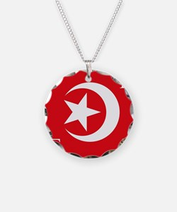 Flag Necklace Circle Charm