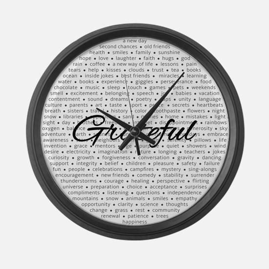 Grateful For... Large Wall Clock