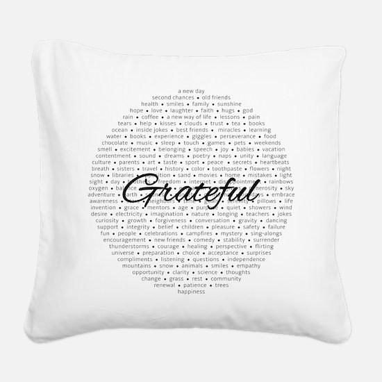 Grateful for... Square Canvas Pillow